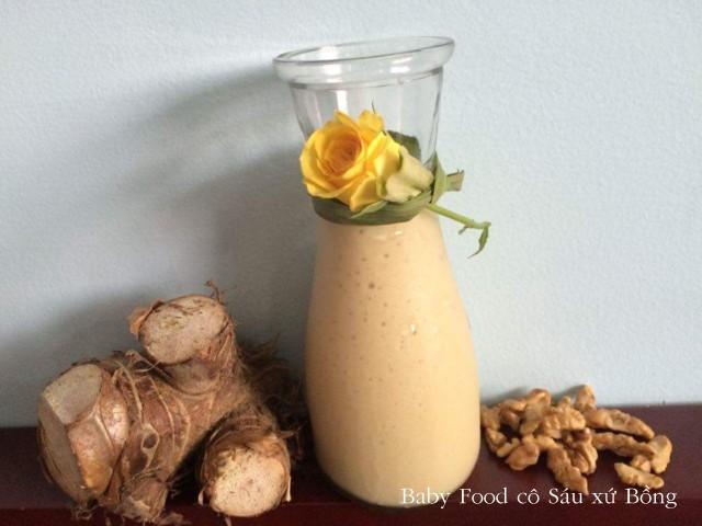 Món sinh tố khoai môn dùng mạch nha thay đường thơm ngon bổ dưỡng.