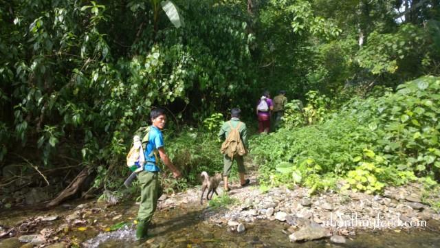 chúng tôi phải đi bộ hơn 10km trong rừng mới tới nươi đóng lán trại