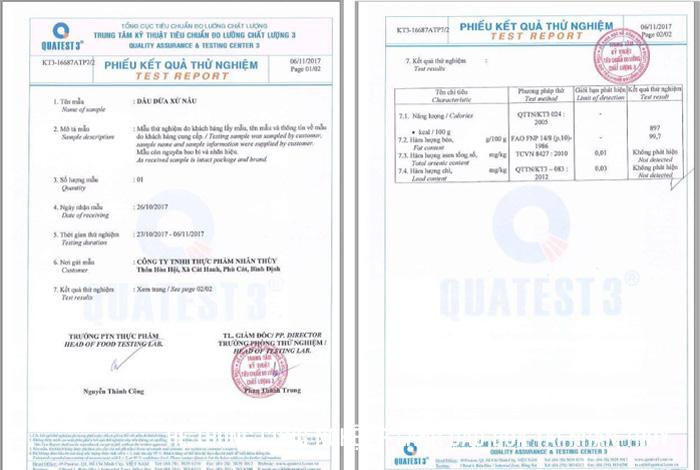 Chứng nhận kiểm định chất lượng Dầu Dừa Nhân Thùy