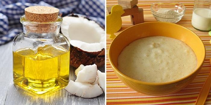 Trộn dầu dừa vào thức ăn cho bé