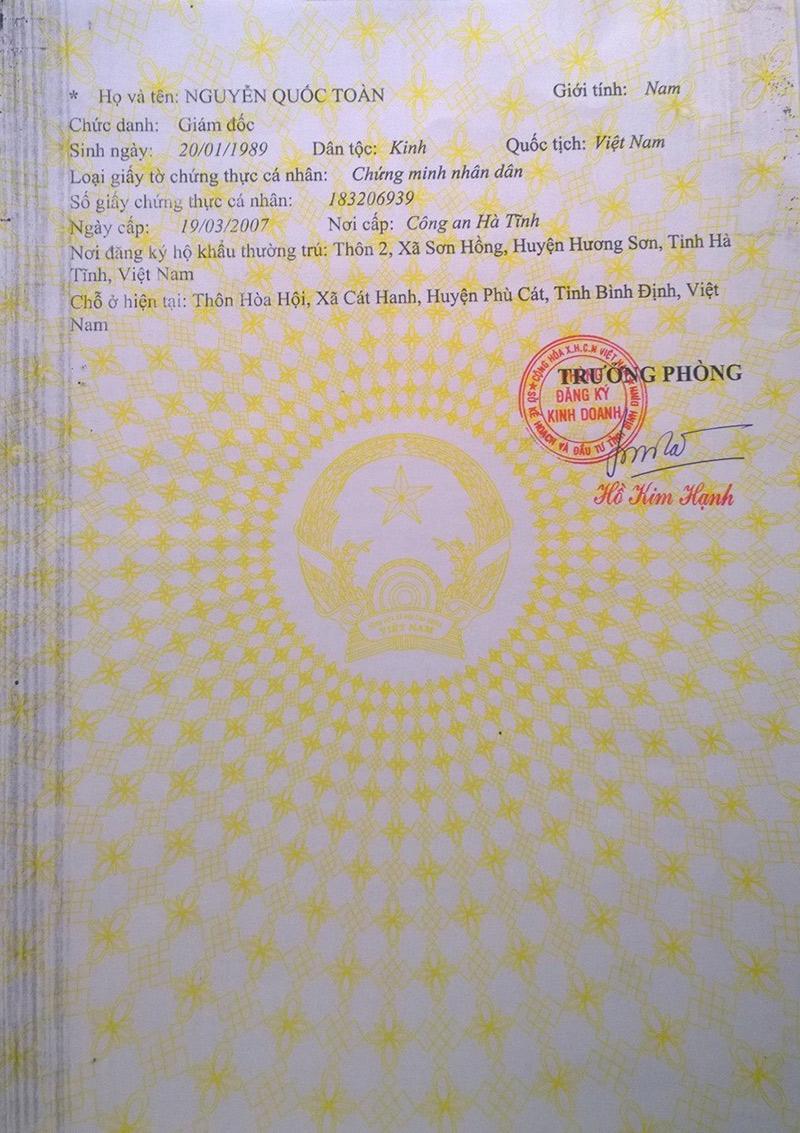 Đăng ký kinh doanh công ty TNHH thực phẩm Nhân Thùy