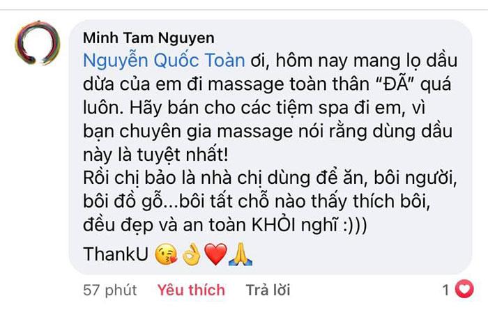Chị Minh Tâm chia sẻ về dầu dừa Nhân Thùy trên Facebook cá nhân